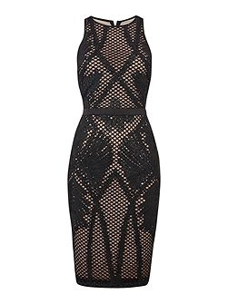 Sleeveless Embroidered Insert Bodycon Dress