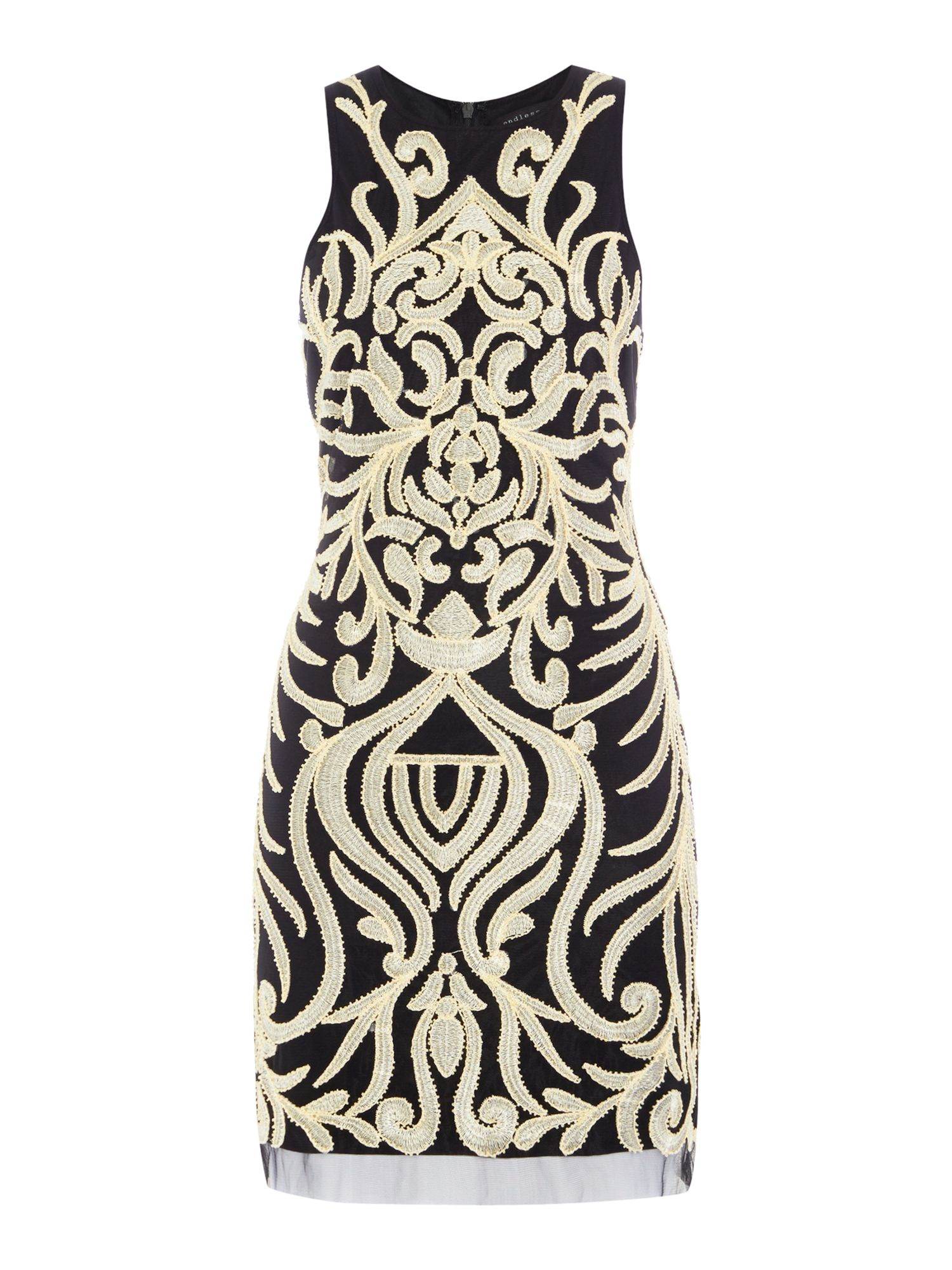 Endless Rose Sleeveless Graphic Pattern Shift Dress, Black Multi