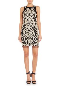 Endless Rose Sleeveless Graphic Pattern Shift Dress