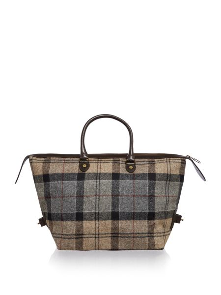Barbour Winter tartan small holdall bag