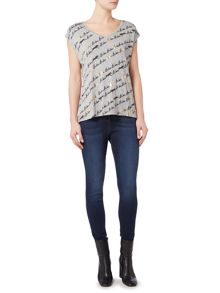 Biba Biba signature and leopard v neck tee