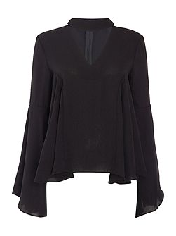 Long Sleeved Cut Out Blouse