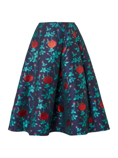 Endless Rose Fit and Flare Floral Printed Skirt