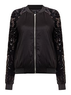 Long Sleeved Sequin Bomber Jacket