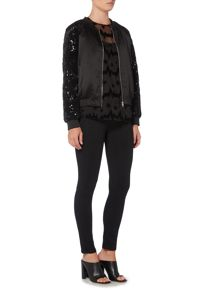 Endless Rose Long Sleeved Sequin Bomber Jacket