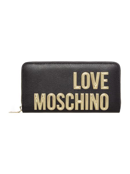 Love Moschino Gold letters zip around purse