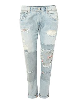 Campbell skinny boyfriend jean with knee patch