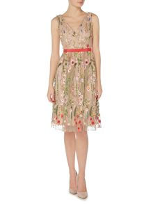 Adrianna Papell V Neck Floral Print Fit and Flare Dress