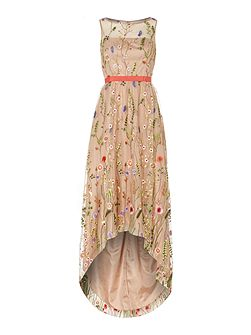 Sleeveless Floral Print Gown