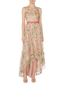 Adrianna Papell Sleeveless Floral Print Gown