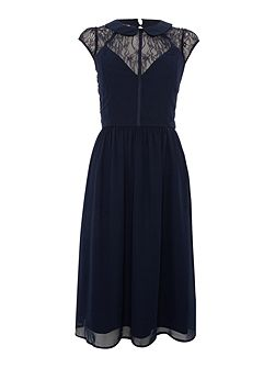 Cap sleeve collared skater dress and lace detail
