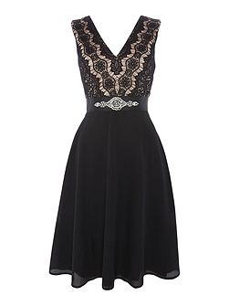 sleeveless skater dress with diamonte waist