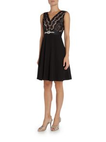 Elise Ryan sleeveless skater dress with diamonte waist