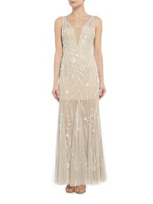 Adrianna Papell Sleeveless V Neck Beaded Mesh Gown