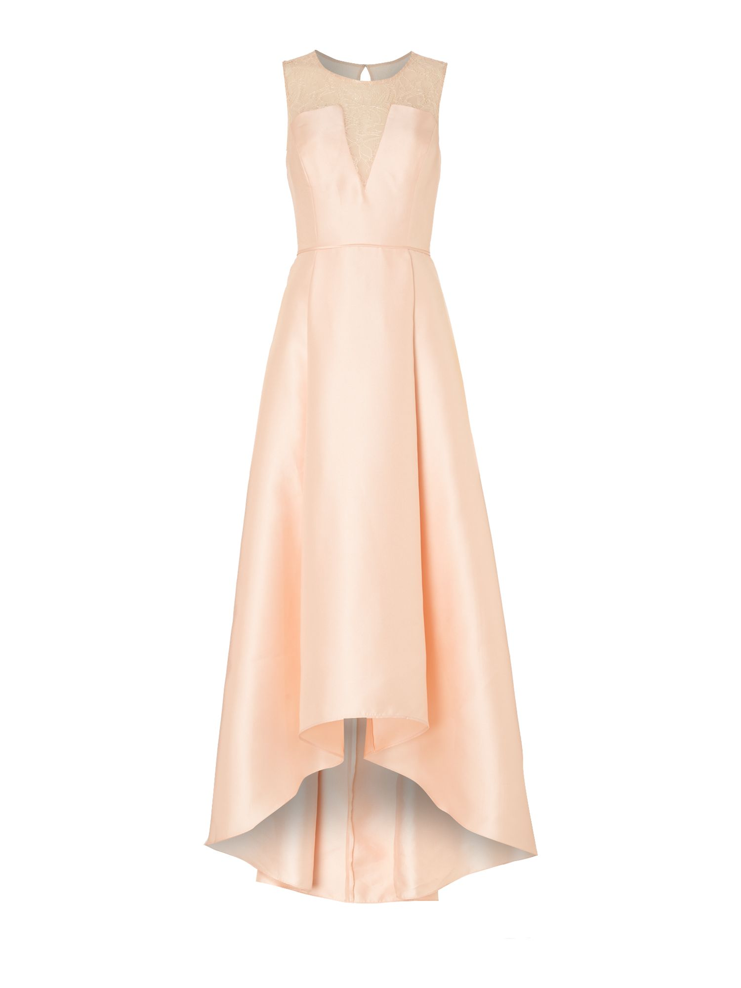 Adrianna Papell Lace Illusion Mikado High Low Gown, Apricot