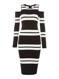 Knitted midi dress with cold shoulder