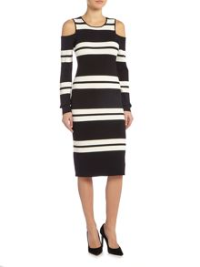 Eliza J Knitted midi dress with cold shoulder