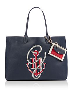 Gigi hadid navy large reversible tote bag
