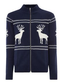 Gant Reindeer Zip-Through Knitted Jumper