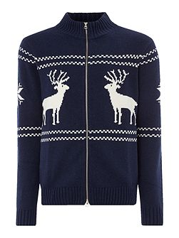 Reindeer Zip-Through Knitted Jumper