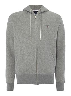 Zip-Through Cotton-Blend Hooded Jumper