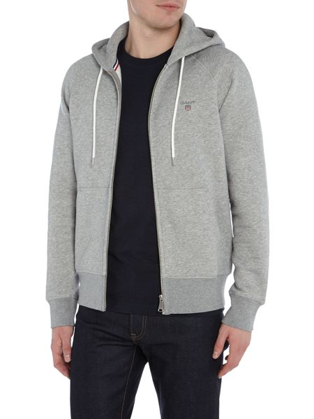 Gant Zip-Through Cotton-Blend Hooded Jumper