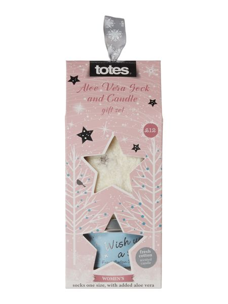Totes Wish upon a star bed sock and candle gift set