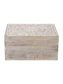 Junipa Carved wood box, large