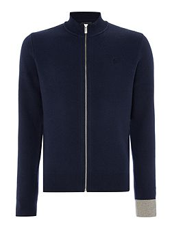 Funnel-Neck Full-Zip Cotton-Blend Jumper