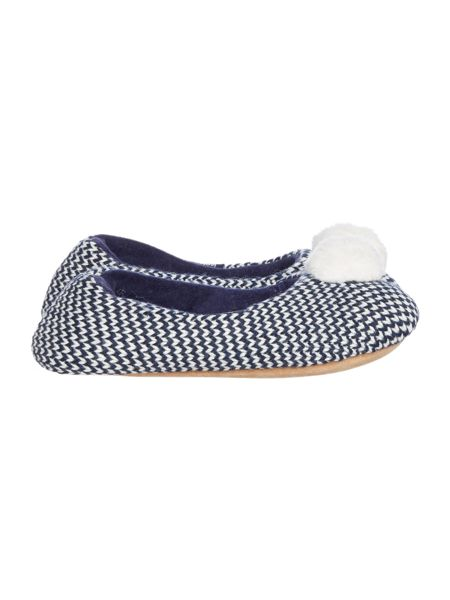 Isotoner Knit back mule with pom pom