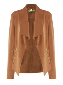 Biba Waterfall trim detail suedette jacket
