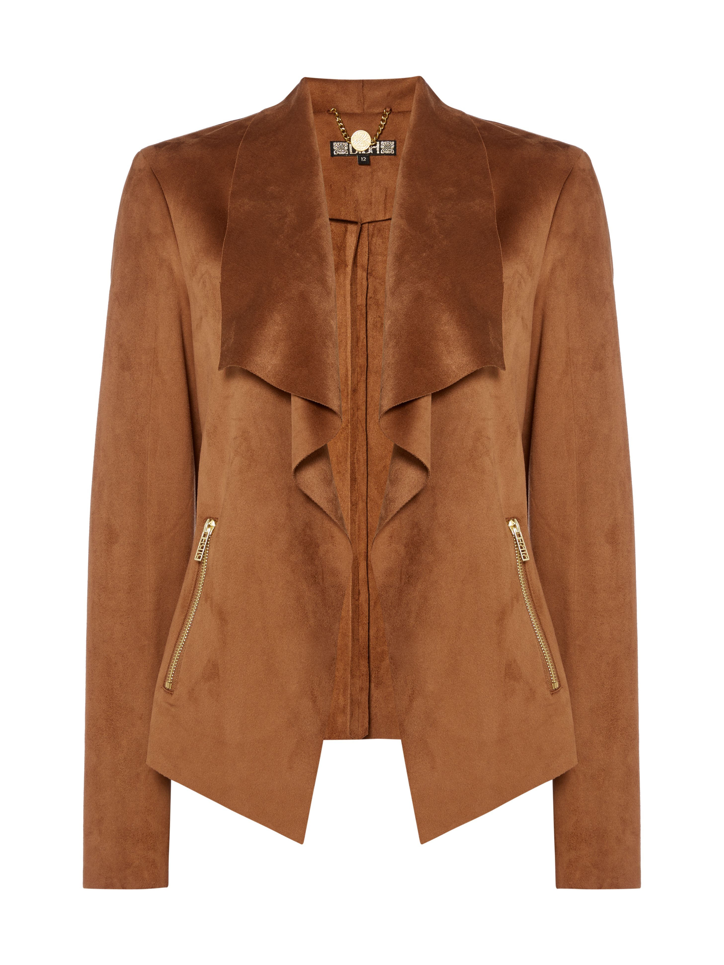 Biba Waterfall trim detail suedette jacket, Tan