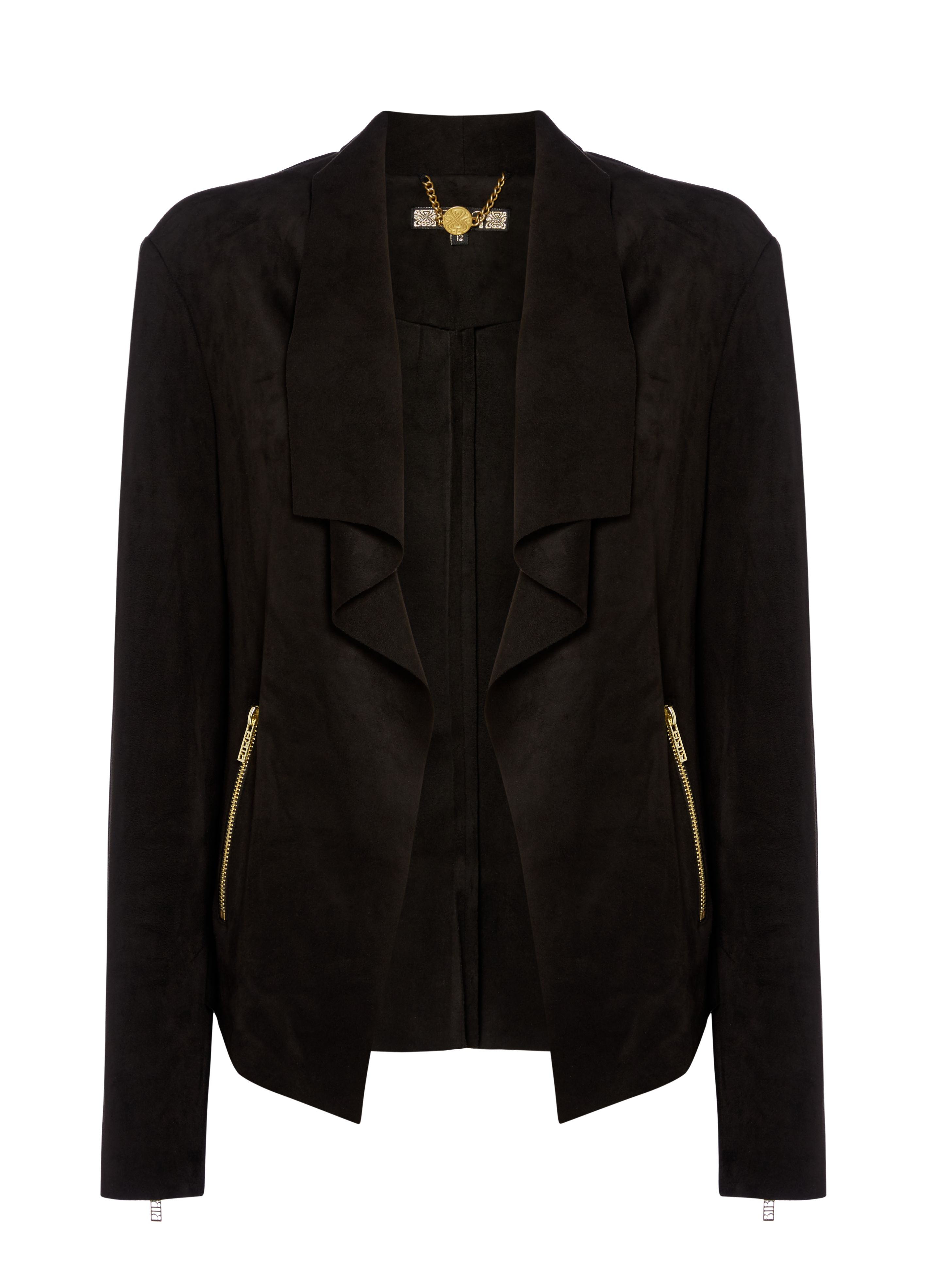 Biba Waterfall trim detail suedette jacket, Black