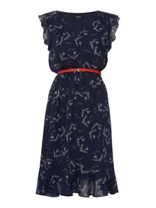 Therapy Bird Print Frill Dress