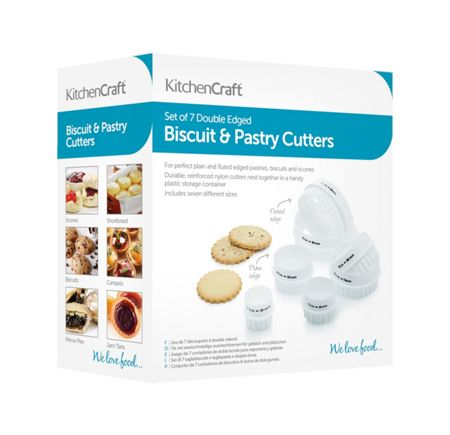 Kitchen Craft Set of Seven Double Edged Biscuit/ Pastry Cutters