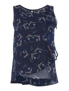 Therapy Bird Print Frill Top