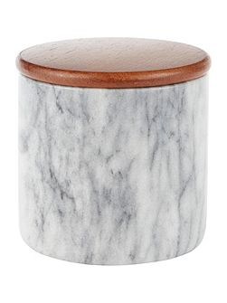 Medium marble jar with wood lid