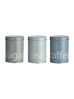 Set of 3 round tin storage