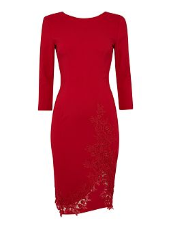 3/4 Sleeve Crochet Trim Bodycon Dress