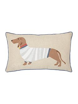 Cecil sausage dog print cushion