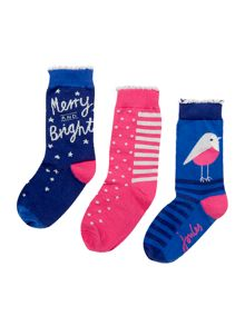 Joules Girls Sock Xmas 3 Pack