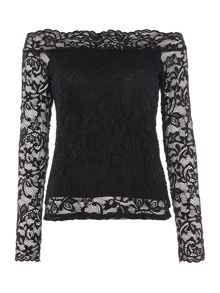 Vero Moda Vmcoc long sleeve lace bardot top
