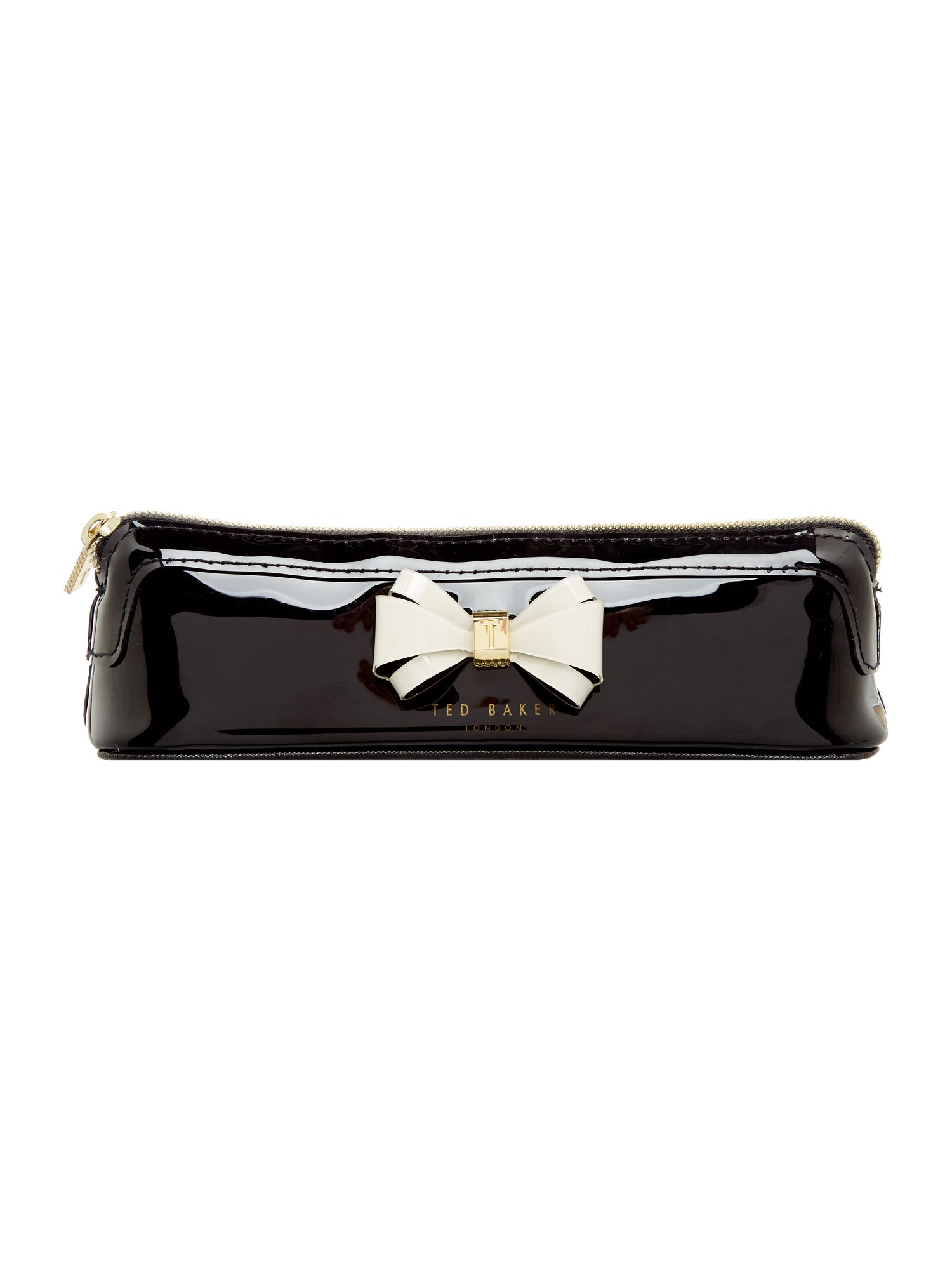 Ted Baker Alister black bow pencil case, Black