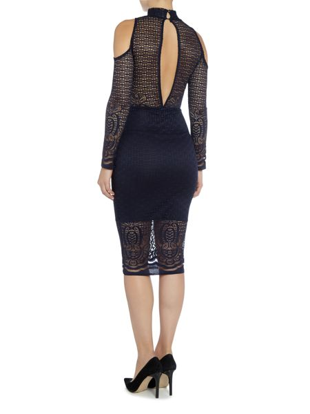 tfnc Long Sleeved Cold Shoulder Lace Bodycon Dress