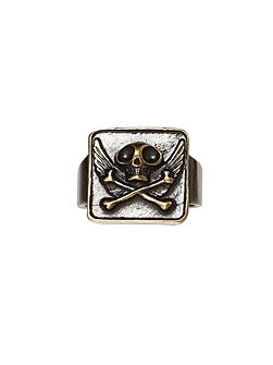 Gold Square Face Ring With Skull And Wings