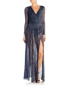 LYDC Long Sleeved Deep V Maxi Dress