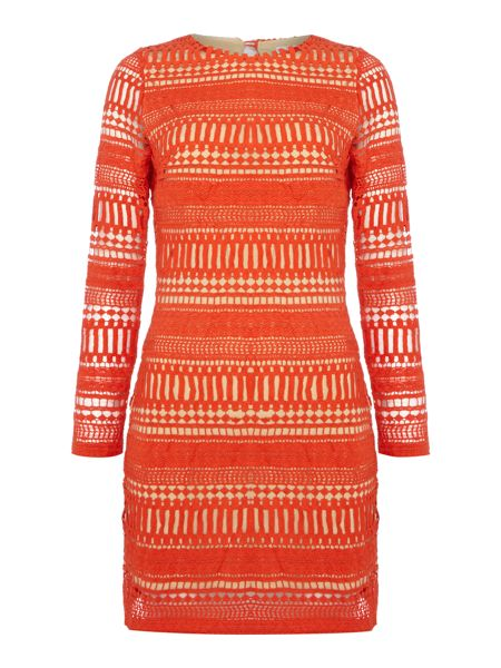 LYDC Long Sleeved Crew Neck Embroidered Shift Dress