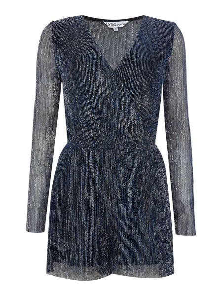 LYDC Long Sleeved Deep V Pleated Glitter Playsuit