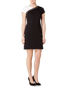 Ellen Tracy Short sleeve colour block shift dress