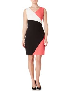 Ellen Tracy Sleeveless dress with colour block v neck detail